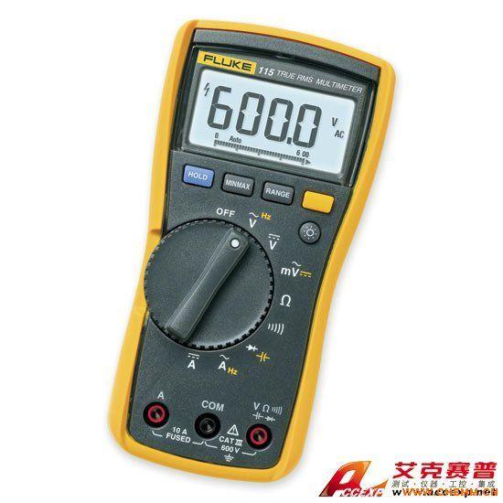 Fluke 115C数字万用表包括以下组件: 护套 9 V 电池,已安装 4 mm 硅树脂测试线套件 用户手册。 Fluke 115C 是用于广泛的电气和电子测试应用的解决方案。一般用于供现场维护技术人员使用,具有真有效值功能。