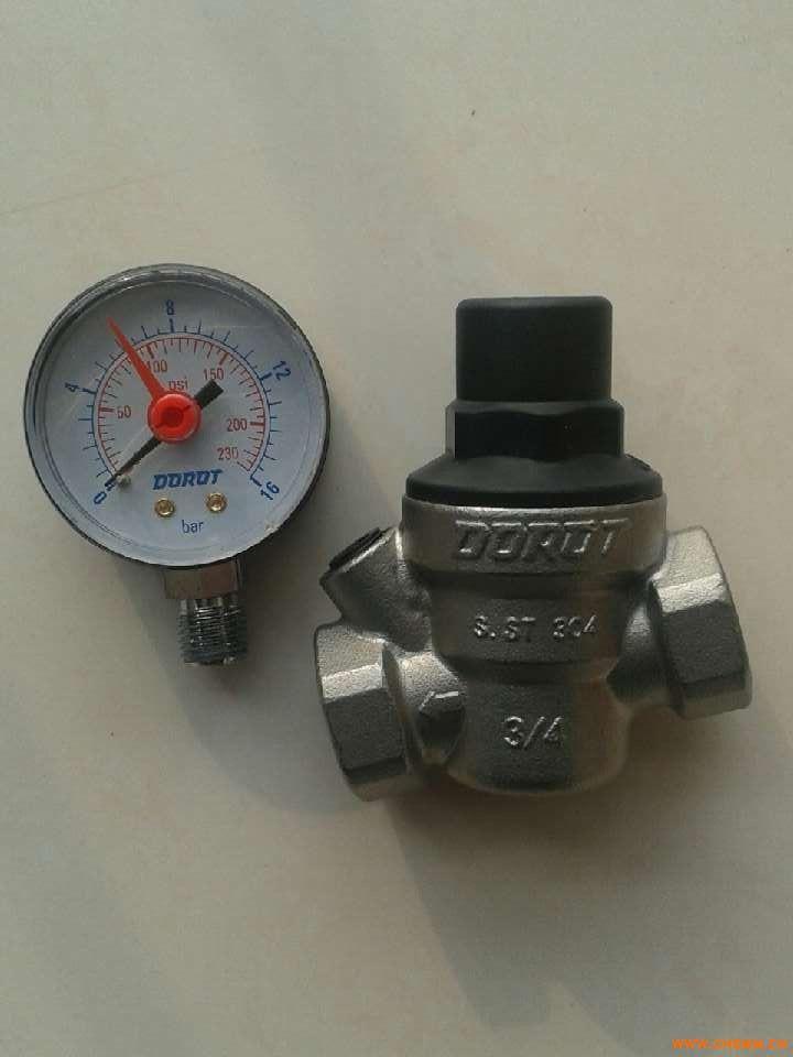 dorot多若特带压力表不锈钢可调式减压阀图片