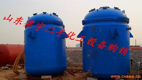 山东二手5立方电加热搪瓷反应釜适用物料
