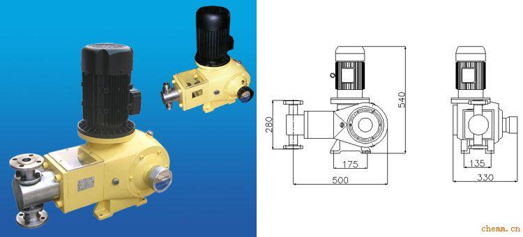 1、与介质直接接触部位全采用不锈钢及四氟材质。过流适应一般颗粒,无毒无味。 2、双泵头结构,经济实用,占地面积小,性能优越。 3、易损部件全部经过特殊化处理,质量保证。 4、内部配置性能卓越的调节器总成,延长泵的使用寿命,并降低了噪音。 5、定量输出,在泵运行或停止时也可任意调节流量,精密度高可达正负百分之一。 6、吐出压力最高一款系列可达500KG。 7、适用于输送温度为 -30~120,粘度为 0.