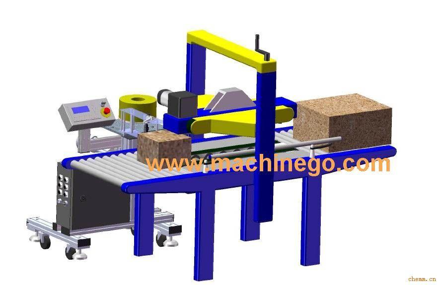 封箱侧面贴标配套机 一、设备功能总体描述(可定制): 配合常规封箱机,在完成封箱后,将整卷不干胶标签贴于箱体侧表面上。 二、设备主体规格参数(可定制): 1、贴标精度: 0.8~1.2mm(不含标签误差); 2、贴标速度: 12m/min; 3、标签盘外径: 200mm; 4、标签宽度范围: 20mm~100mm; 5、标签长度范围: 20mm~220mm; 6、二维升降架,X轴行程:320 mm、Z轴行程:180 mm。 三、设备主体配置(可定制): 1、基础贴标头  德国西门子PLC控制器(程序内置
