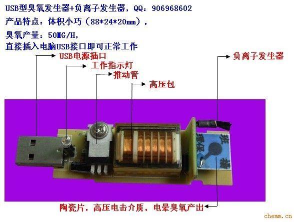 产品型号:TS-USB50MG 输入电压:DC5V 电流:600MA 输出高压:AC2200V 高压频率:16KHZ 臭氧产量:50mg/H 负离子浓度:30万 /M3 产品尺寸:88*24*20mm 工作原理:USB插入变压器或电脑USB,接通电源即可产生臭氧和负离子,使用小型风扇吹动陶瓷片周围空气,便能使臭氧和负离子散发到使用的空间,达到空气消毒净化效果。 可根据客户要求定制DC12V,DC24V等