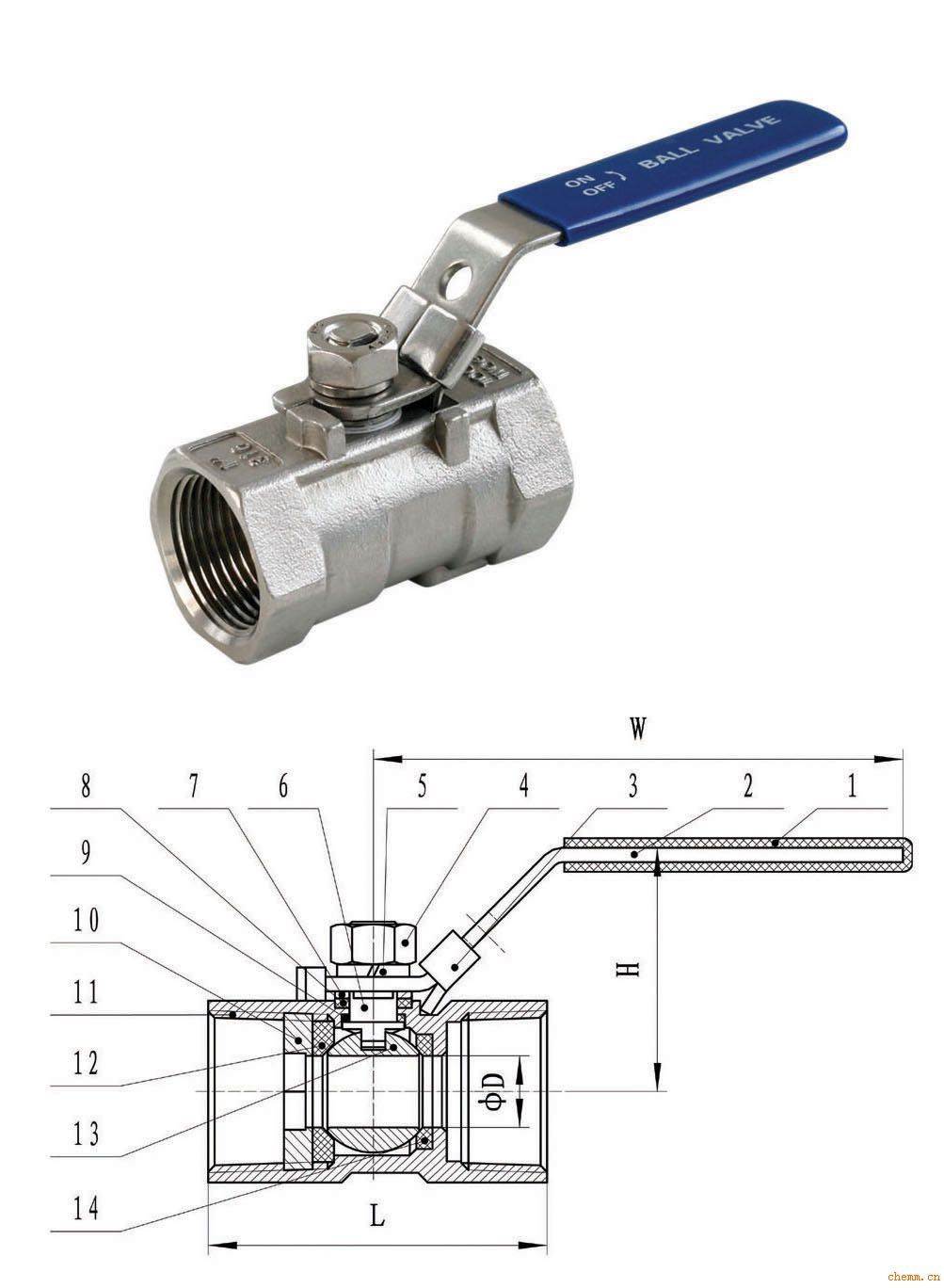 泵阀设备 球阀  产品名称:不锈钢一片式阀门 产品编号:球阀-2 产品图片